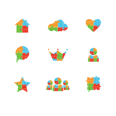 piezas de rompecabezas: Rompecabezas Vector. Puzzle plantilla de vectores icono del diseño. Divertido concepto de entretenimiento Rebus. Icono de la lógica colorido. Icono de la construcción. Diferencias Puzzles forma Vectores
