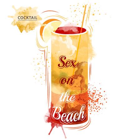 Aquarelltechniken Vektor Cocktail Bilder. Hand gezeichnete Illustration der Cocktail. Weinlese-Cocktail-Party Einladung Poster. Cocktail Standard-Bild - 40263165