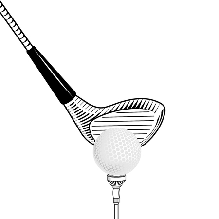 cropped: Golf design vector illustration. Golf club close up isolated on white background. Vector golf club with ball. Cropped placing golf ball Illustration