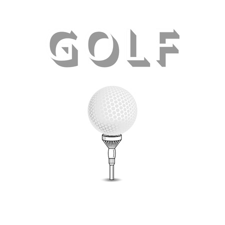 Golf ball on white tee realistic vector illustration isolated. Vector golf ball isolated on white. Golf tee of Engraving style with ball Vector