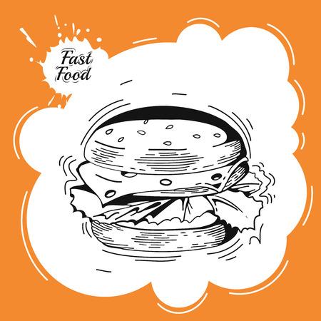 burger: Vintage fast food background. Hand drawn illustration. Vintage burger poster design. Fast food decorative colored sketch icons hot dog isolated vector illustration. Burger Illustration