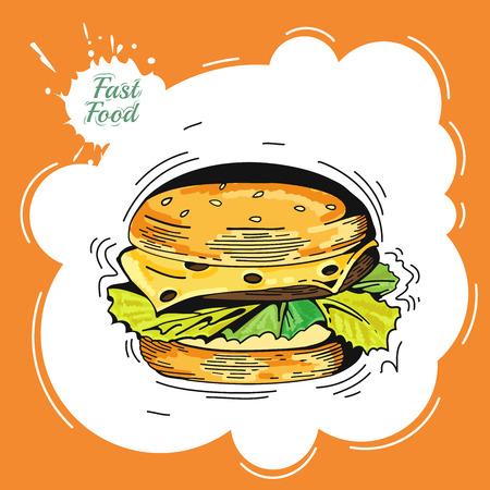 hamburguesa: Fondo de la vendimia de comida r�pida. Dibujado a mano ilustraci�n. Dise�o del cartel del vintage hamburguesa. Comida r�pida decorativos iconos bosquejo colores perro caliente ilustraci�n vectorial aislado. Hamburguesa