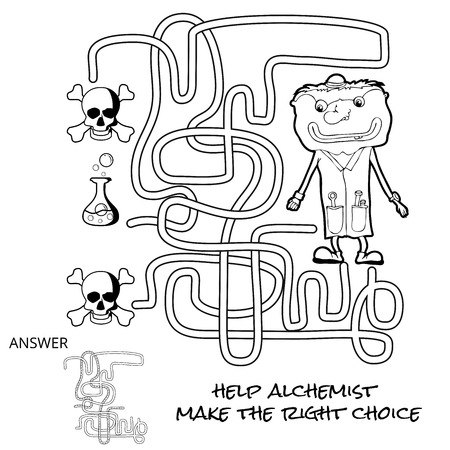riddle: Funny Maze Game for kids. Maze or Labyrinth Game for Preschool Children. Maze puzzle with solution. Cartoon chemist Illustration
