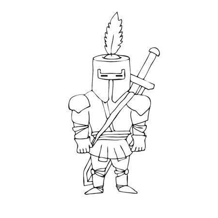 cartoon knight: Vector Illustration of Cartoon knight. Vector Illustration Isolated On White. Vector Illustration of Cartoon  knight
