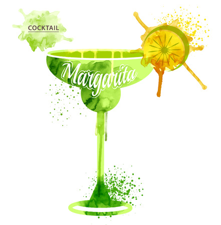 margarita glass: watercolor techniques vector cocktail pictures. Hand drawn illustration of cocktail. Vintage Cocktail Party Invitation Poster.  Cocktail