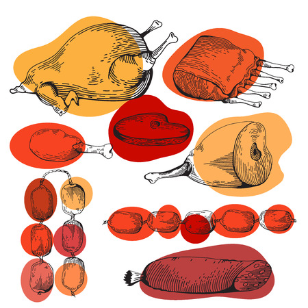 spare ribs: Chicken and Chicken leg Gammon Ribs Sausage Steaks. Cartoon illustration. Meat set. Graphics picture. Engraving style Illustration