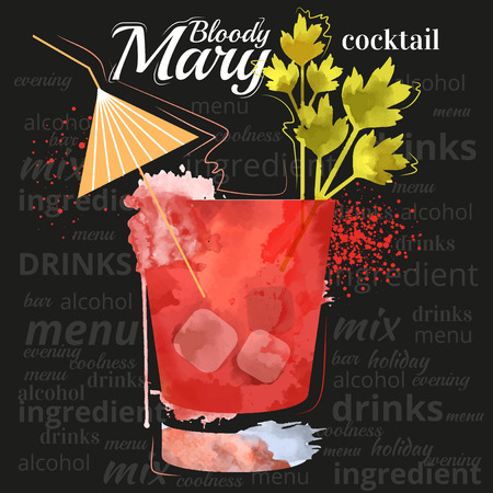 tubule: watercolor techniques vector cocktail pictures. Hand drawn illustration of cocktail. Vintage Cocktail Party Invitation Poster.  Cocktail