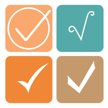 white check mark sign: Tick sticker. Check vector icon. Check Marks green color. symbol on white background Illustration