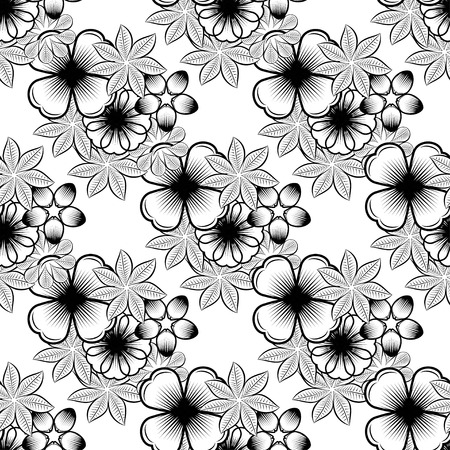 Seamless wallpaper pattern with flowers. Hand drawn flower pattern. Vector pattern with flowers and plants. Vector floral background. Background floral vector