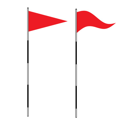 triangle flag: Golf equipment theme elements on isolated background. vector illustration of Red golf flag. Flags of the golf course. Illustration on white background. Golf flags Illustration