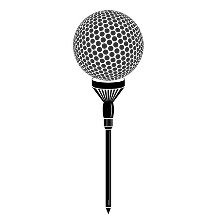 golf tee: Golf ball on tee realistic vector illustration. Vector golf ball on black background. Golf tee of Engraving style with ball