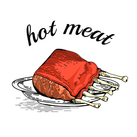 bbq ribs: Meat hand drawn. Meat collages. Illustration of a steak meat. Vector hand drawn meat elements. Business lunch. BBQ Ribs. Barbecued Spare Ribs