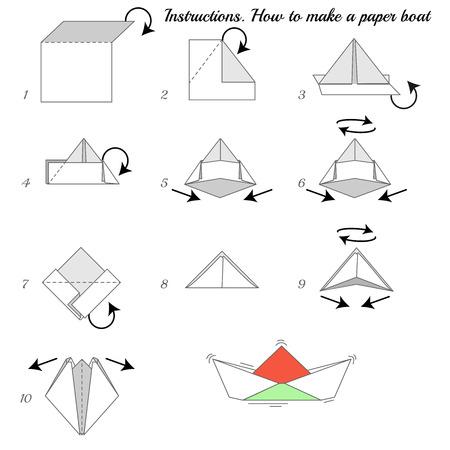 bateau: Instructions comment fabriquer du papier navire. Paper ship tutoriel étape par étape. bateau de Vector. Jeu éducatif pour les enfants. Jeu visuel. Navire de papier sur fond isolé Illustration