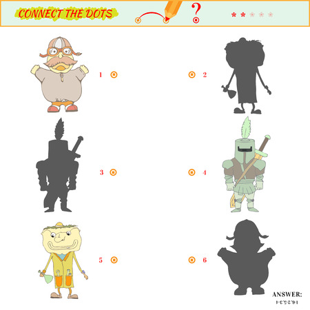 shadow people: Visual puzzle or picture riddle. Shadow Matching Game. Connect the dots picture. Puzzle for kids. Answer included. Illustration