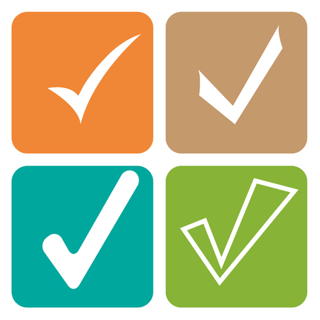 affirmative: Tick sticker. Check vector icon. Check Marks green color. symbol on white background Illustration