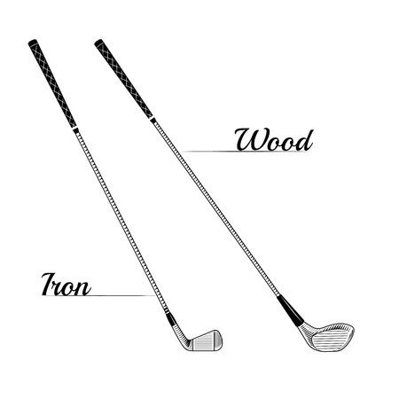 Vector campos de carteles o impresiones de golf. Club de golf de diseño de logotipo. Golf vector logo. de ilustración de golf. Imágenes del vector de golf. Palos de golf de hierro y madera Foto de archivo - 42484392