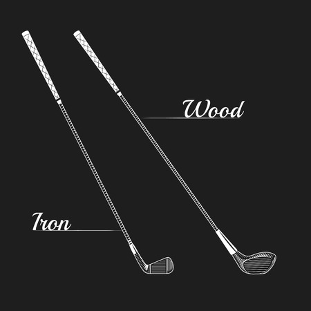 golf iron: Vector golf posters or golf prints. Golf club logo design. Golf logo vector. golf clipart illustration. Vector Images of golf. Golf clubs iron and wood Illustration