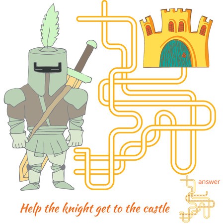 Funny Maze Game for kids. Maze or Labyrinth Game for Preschool Children. Maze puzzle with solution Ilustrace