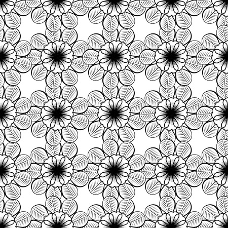 single color image: Seamless wallpaper pattern with flowers. Hand drawn flower pattern. Vector pattern with flowers and plants. Vector floral background. Background floral vector