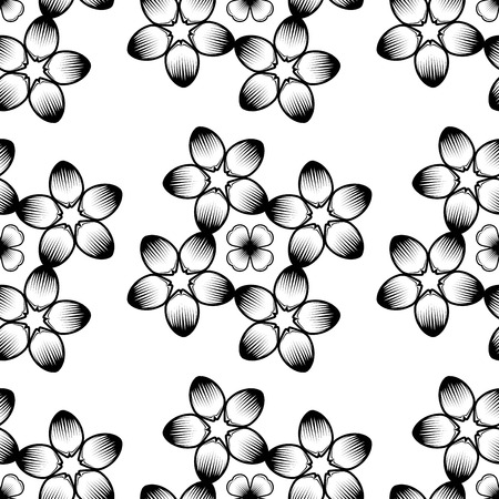 black and white image drawing: Seamless wallpaper pattern with flowers. Hand drawn flower pattern. Vector pattern with flowers and plants. Vector floral background. Background floral vector
