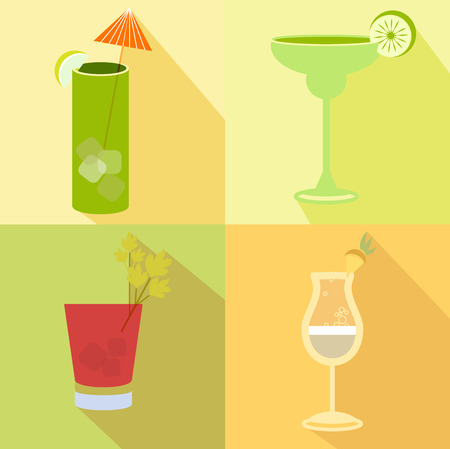pina colada: Alcohol drink and cocktail icons in flat design style. Cocktails icons with long shadow. Vintage Cocktails. Vector illustration of cocktails Illustration