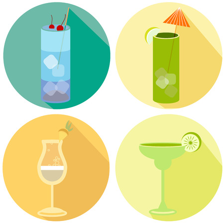 Alcohol drink and cocktail icons in flat design style. Cocktails icons with long shadow. Vintage Cocktails. Vector illustration of cocktails Illustration