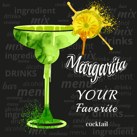 margarita glass: watercolor techniques vector cocktail pictures. Hand drawn illustration of cocktail. Vintage Cocktail Party Invitation Poster. Margarita Cocktail Illustration
