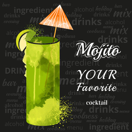 watercolor techniques vector cocktail pictures. Hand drawn illustration of cocktail. Vintage Cocktail Party Invitation Poster. Mojito Cocktail