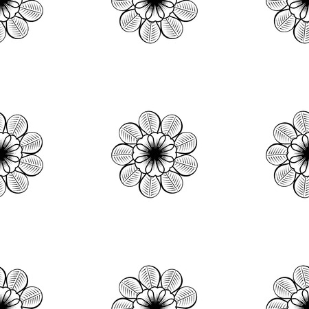 single color image: Seamless wallpaper pattern with flowers. Hand drawn flower pattern. Vector pattern with flowers and plants. Vector floral background