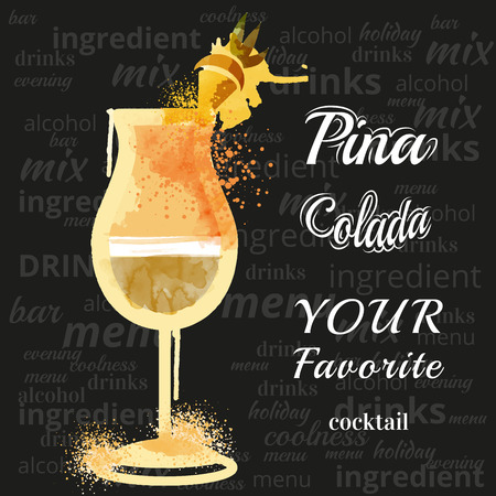 tubule: watercolor techniques vector cocktail pictures. Hand drawn illustration of cocktail. Vintage Cocktail Party Invitation Poster. Pina Colada Cocktail Illustration