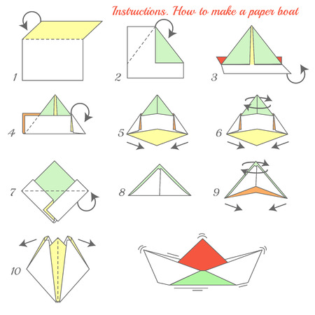 Instructions how to make paper ship. Paper ship tutorial step by step. Vector boat. Educational game for kids. Visual game. Paper Ship on isolated background Ilustrace