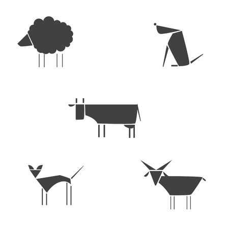 draw animal: Vector illustration of cute animal. Differences animals silhouettes set. Vector Farm Animals Silhouettes Isolated on White Illustration