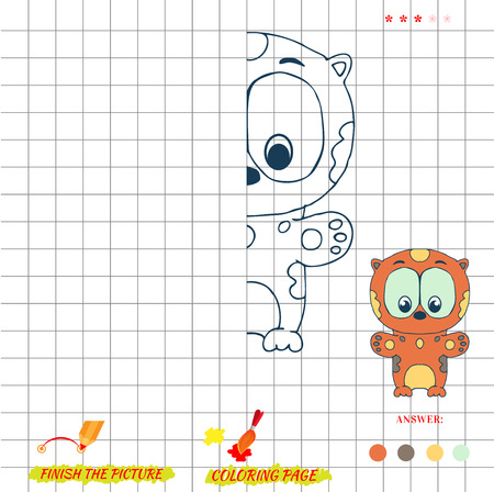 Game finish the picture and coloring. Visual game for kids. Fold missing puzzle. Symmetry image game. game for preschool child. Education game. Cartoon  leopard
