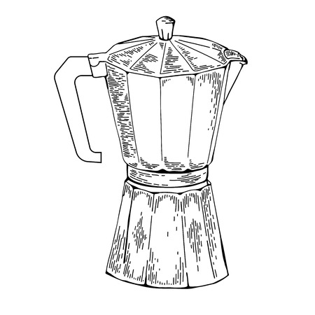 ware: Coffee ware. Coffee pot sketch illustration. Moka pot an engraving style. Moka pot for brewing traditional espresso. Moka pot vector on isolated background