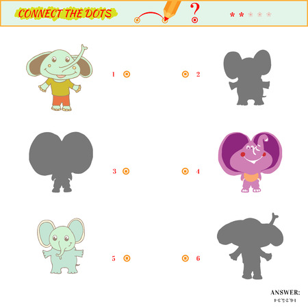 matching: Visual puzzle or picture riddle. Shadow Matching Game. Connect the dots picture. Puzzle for kids. Answer included. Illustration