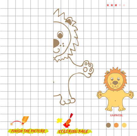 lion drawing: Game finish the picture and coloring. Visual game for kids. Fold missing puzzle. Symmetry image game. game for preschool child. Education game. Cartoon lion