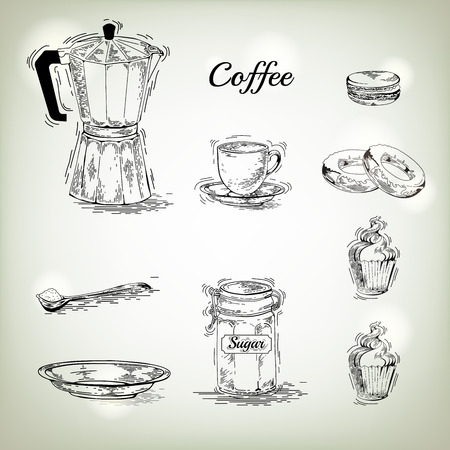 ware: Hand drawn coffee set. Coffee Maker. Vintage coffee posters. Set of coffee vector graphic designs. Vintage pamphlet. Coffee labels. Coffee ware. Cup, saucer, maker