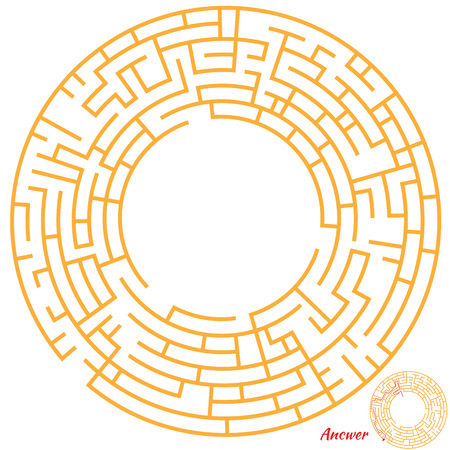 Funny Maze Game for kids. Maze or Labyrinth Game for Preschool Children. Maze puzzle with solution Illustration