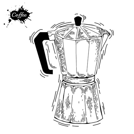 percolator: Coffee ware. Coffee pot sketch illustration. Moka pot an engraving style. Coffee maker for brewing traditional espresso. Coffee maker vector on isolated background Illustration