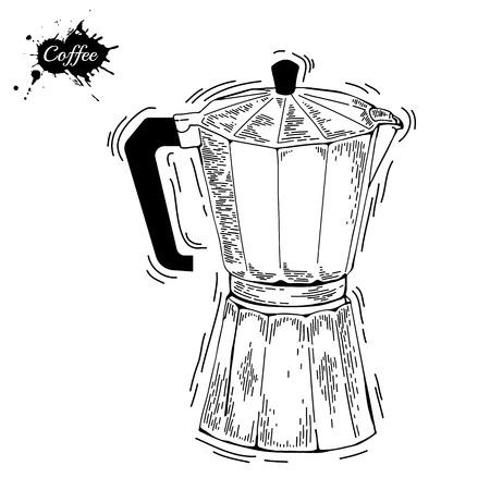 coffee maker: Utensilios de caf�. Cafetera boceto ilustraci�n. Moka olla un estilo de grabado. Cafetera para la elaboraci�n de la cerveza espresso tradicional. Cafetera vector en el fondo aislado
