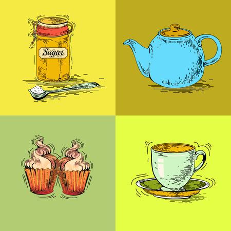 cup and saucer: Hand drawn tea set. Teapot vector. Vintage tea posters. Set of tea vector graphic designs. Vintage pamphlet. Tea labels. Tea ware. Cup, saucer, maker, dessert