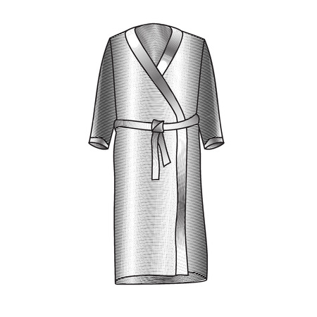 bath gown: Vector illustration of mens bathrobe. Bathrobe for pool. Sportswear. Accessories for swimming an engraving style. Bathrobe Vector image Illustration