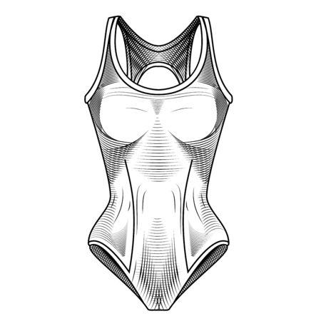 traje de bano: Traje de ba�o de Vector stock imagen. Ropa para los nadadores. Ropa de deporte. Deportes acu�ticos. Ilustraci�n de moda de trajes de ba�o. Ilustraci�n vectorial de swimsui deporte femenino