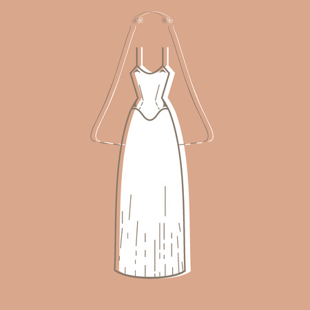 outline wedding: Wedding dress. Clothing for celebration. Outline Wedding dress on colorful background. Classic wedding dress stock image Illustration