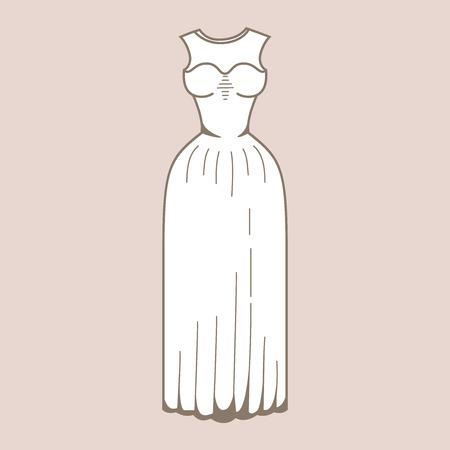 vestido de noche: Vestido de novia. Ropa de celebración. Esquema de vestido de boda en el fondo colorido. Boda clásica imagen de vestir stock Vectores