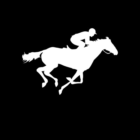 Horse race. Equestrian sport. Silhouette of racing horse with jockey on isolated background. Horse and rider. Racing horse and jockey silhouette. Derby