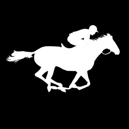 cavallo in corsa: Corsa di cavalli. Sport equestri. Silhouette di cavallo da corsa con fantino su sfondo isolato. Cavallo e cavaliere. Cavallo da corsa e fantino silhouette. Derby