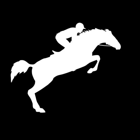 horse riding: Horse race. Horse and rider. Racing horse and jockey silhouette. Derby. Equestrian sport. Silhouette of racing horse with jockey on isolated background