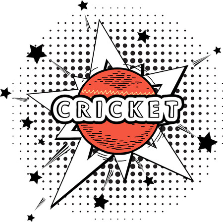 cricket: cricket ball isolated. cricket red ball in explosion for Cricket on stylish colorful background. Doodle style cricket ball illustration with retro pop background