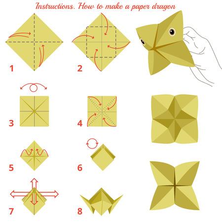 jeu: Instructions comment fabriquer du papier dragon. Animaux tutoriel �tape par �tape. Vecteur dragon. Jeu �ducatif pour les enfants. Jeu visuel. Papier animaux sur fond isol� Illustration